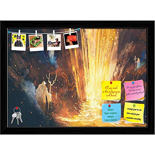 Artzfolio Three Wizards Casting A Spell In Lava Cave Printed Bulletin Board Notice Pin Board | Black Frame 22.2 X 16Inch -