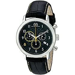 88 Rue du Rhone Men's 42mm Black Calfskin Band Steel Case Swiss Quartz Chronograph Watch 87WA140028