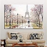 wjwiang Romantische Stadtliebhaber Paris Eiffelturm Landschaft Hd Drucken Abstrakte Ölgemälde Auf Leinwand Wandkunst Wohnzimmer Sofa Wohnkultur 30X45 cm Rahmenlose A