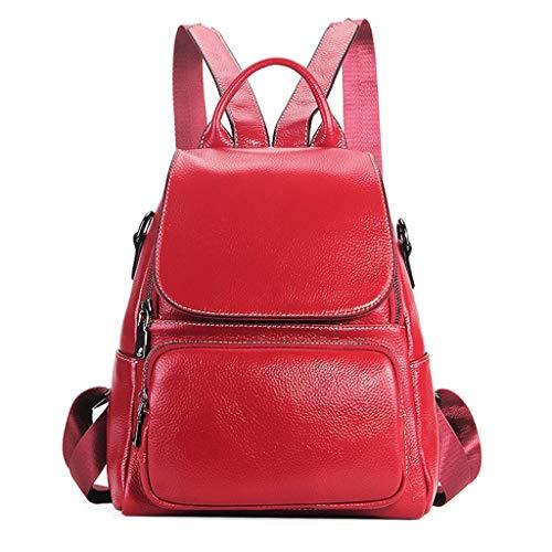 Luluspace Damen Rucksack,Echtes Leder Rucksack für Damen Schultasche Casual Daypack Schulrucksäcke Tasche Schulranzen (Rot)