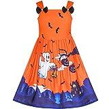 Sunboree Mädchen Kleid Halloween Geist Fledermäuse Witch Kürbis Party Kostüm Gr. 110