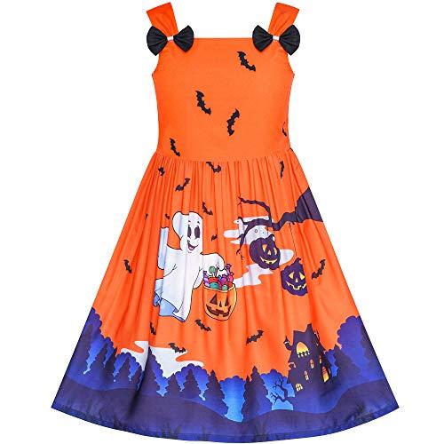 Sunboree Mädchen Kleid Halloween Geist Fledermäuse Witch Kürbis Party Kostüm Gr. 116