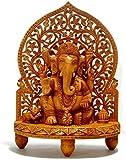 Große Ganesh Statue aus Holz–handgeschnitzt sitzend in shrine- Elefant Hindu Deity God Figur Tempel