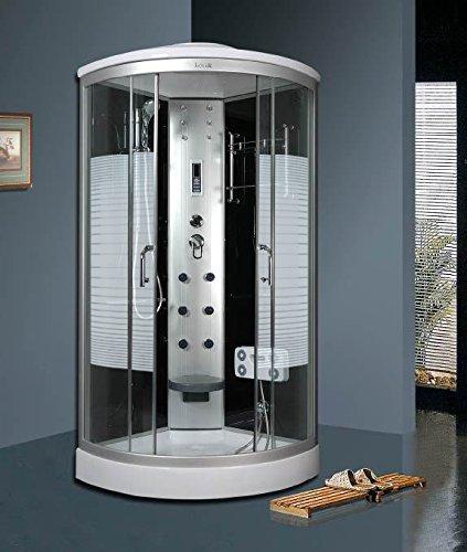 OimexGmbH Arielle LED Duschkabine 90 x 90 cm Komplettdusche mit Massagefunktion Armaturen Sicherheitsglas (ESG) Dusche