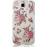 YOKIRIN Pink Blume Weiß Bemalt PC Plastik Hart Cover Hardcase Schutzhülle für Samsung Galaxy S4 SIV I9500 Transparent Handyhülle Backcover Harte Rückseite