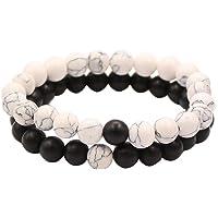 UEUC Distance Couple Bracelet avec CZ Crown King & Queen Noir Mat Agate & White howlite 8 mm Bracelet Perles