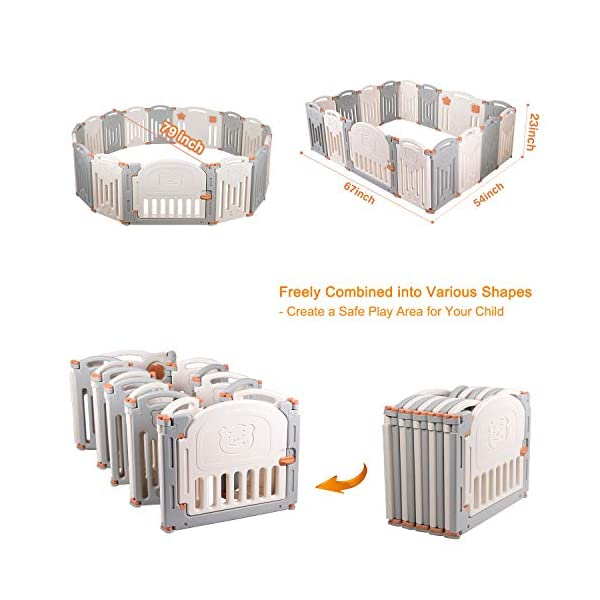 Baby Playpen,Foldable Playpen with Gates Activity Center Safety Play Yard for Babies and Kids - 14+2 Panel HDPE Indoor Outdoor Playards Fence Set Birtech 💝👼🏩Baby Playpen with Safety Material 💝👼🏩Crafted with high quality non-toxic commercial grade HDPE material widely utilized for every day products,BPA free and non-recycle material with HDPE, no any odor, perfect for your baby. 💝👼🏩Baby Playpen to Free You Hands💝👼🏩Cooking/housework or just want to rest inside the house for a while, a playpen is a great idea. You will have a play center to keep your baby safe and entertained. You can set it up easily and your kids can use their play area right away. 💝👼🏩Flexible Shape💝👼🏩You can use all 14+2 panels or less, it's up to you, this feature along with the ability to shape it be it square, rectangle, hexagon or octagon will fit anywhere in your house. 12