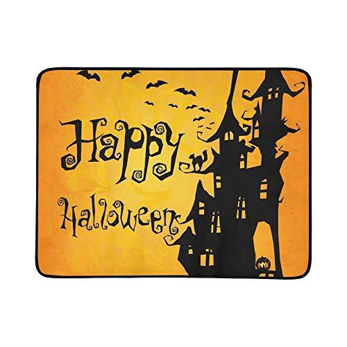 (KAOROU Halloween Einladungsflieger Spooky Castle Tragbare und Faltbare Deckenmatte 60x78 Zoll Handliche Matte für Camping Picknick Strand Indoor Outdoor Reise)