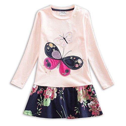 VIKITA Mädchen Blumen Langarm Baumwolle Kleid 2-8 Jahre LH5460Rosa 4T