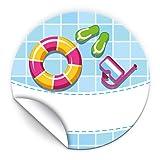 JuNa-Experten 24 Aufkleber Pool-Party für Geschenkverpackung / Sticker für Verpackung von Gastgeschenk Mitgebsel / Kindergeburtstag / Party-Deko