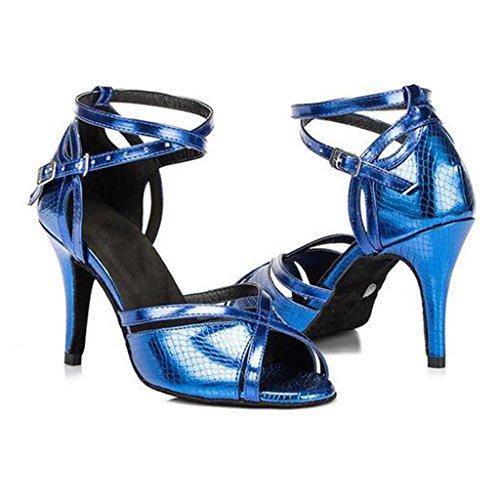 W&LM Signorina Bottone Morbido Scarpe Da Ballo Latino Scarpe Da Ballo Sociale Scarpe Da Ballo Moderne Scarpe Magiche Blue