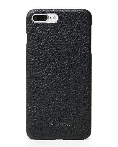 Full-grain-leder-shell (Beyza Fällen Feder Super Dünne Leder Snap auf Shell Schutzhülle für iPhone 8Plus/7Plus, Schwarz)