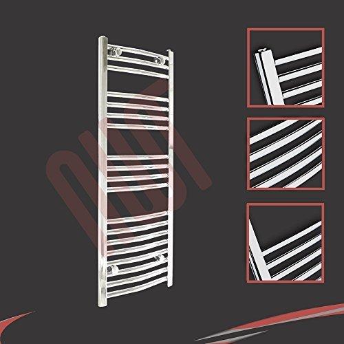 400mm (w) x 1000mm (h) - Radiateur sèche-serviettes incurvé chromé Barre Horizontale Diamètre: 22mm, Bar Modèle: 3 + 4 + 4 + 8