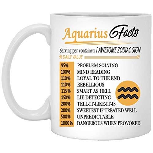 Aquarius nutrition facts mug awesome zodiac sign coffee mugs - funny birthday gag gifts for men women gift tea cup white ceramic 11 oz