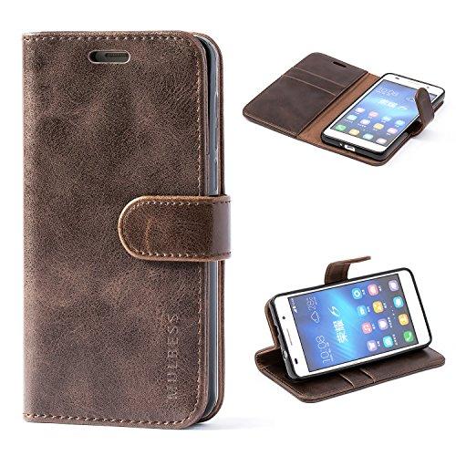 Mulbess Ledertasche im Ständer Book Case / Kartenfach für Huawei Honor 6 Tasche Hülle Leder Etui,Vintage Braun