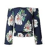 JUTOO Mode Frauen lose T-Shirt Casual Bluse Shirt(Marine,EU:38/CN:M)