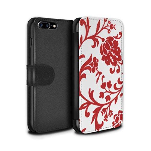 Stuff4 Coque/Etui/Housse Cuir PU Case/Cover pour Apple iPhone 7 Plus / Pack (5 Pack) Design / Motif floral Collection Fleurs Rouge