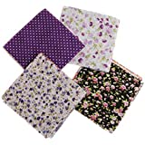 Imported Pack Of 7 DIY Squares Cotton Cloth Patchwork Quilting Floral Craft Fabric by Premsons