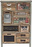 Kare Design Kommode California 11 Schübe, brauner Design Beistellschrank im Vintage-Retro-Look, naturfarbene Hochkommode aus Holz, Braun(H/B/T) 98x64,5x30,3cm