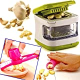 The Wolf Moon® Garlic Cube Chopper Slicer Hand Press Garlic Grinder Crusher and Magic Silicone Garlic Peeler set