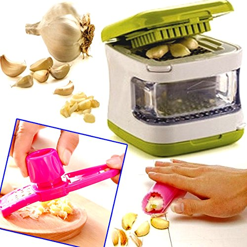 Brilliant wee item makes life much easier! Not only do you get the garlic chopper you also get a garlic peeler and a mini garlic grater! Easy to use and pops in the dishwasher no problem which is easy cleaning always a bonus lol.