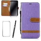 Samsung Galaxy A6 Plus/A6+ 2018 Hülle, MISSDU Handyhülle Premium PU Leder Flip Tasche Wallet Case mit Integrierten Kartensteckplätzen [Gifts: Screen Protector, Touch Pen] - Lila