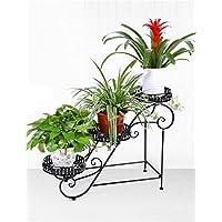 Maceta estantería jardín hierro 3pisos piso Rack de estante, para macetas, flores de maceta para balcón, sala de estar, soporte de plantas en interior