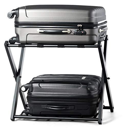 COSTWAY Kofferständer klappbar, Gepäckständer schwarz, Gepäckablage Metall, für Schlafzimmer, Gästezimmer, Hotel, schwarz (1 Kofferständer)