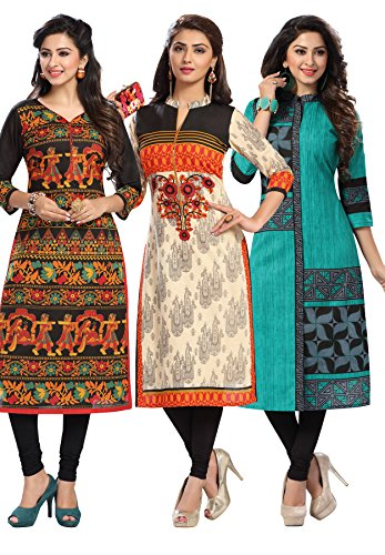 Salwar Studio Women's Pack of 3 Cotton Printed Unstitched Kurti Fabric Combo...