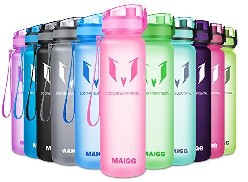 MAIGG Best Sports WasserFlasche Trinkflasche - 500ml & 1000ml - Eco Friendly & BPA-freiem Kunststoff - für das Laufen, Fitness, Yoga, Im Freien und Camping - Schnelle Wasserdurchfluss , Flip Top, öffnet sich mit 1-Click - Wiederverwendbare mit dicht schließendem Deckel (Rosa, 1000ml-32oz) -