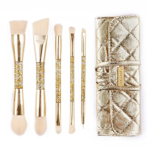 Aufrecht Reise-set (amoore 5 Stück Make Up Buersten Make Up Pinsel Set Pinselsets mit der PU Leder Pinsel Tasche Kosmetik)