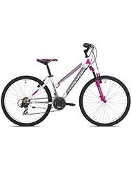 "earth MTB Torpado bicicleta 26"" mujer 3 x 7 V, talla 38, blanco, fucsia (de ciclismo para mujer)/bicycle MTB earth 26"" lady 3 x 7 S 38 size white (MTB Woman) rosa"
