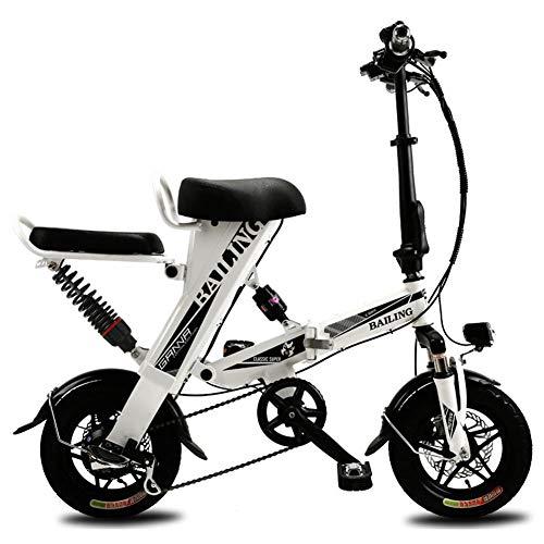 KASIQIWA Mini-Elektroauto, kleines zusammenklappbares elektrisches Fahrrad Lithiumbatterie 36V / 25AH Zweisitziger bürstenloser Motor 25-30km / h Geschwindigkeit Superausdauer 50-60 km,White