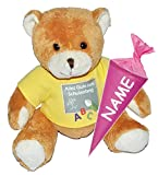 Unbekannt Teddy Bär mit Schultüte - 18 cm zum Befüllen - incl. Name - für Mädchen - Schulanfang Plüsch Plüschtier Zuckertüten Deko  Alles Gute zum Schulanfang  Glücksbringer