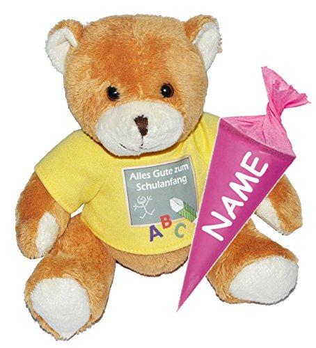 Unbekannt Teddy Bär mit Schultüte - 18 cm zum Befüllen - incl. Name - für Mädchen - Schulanfang Plüsch Plüschtier Zuckertüten Deko  Alles Gute zum Schulanfang  Glücks.. (Teddys Bären)