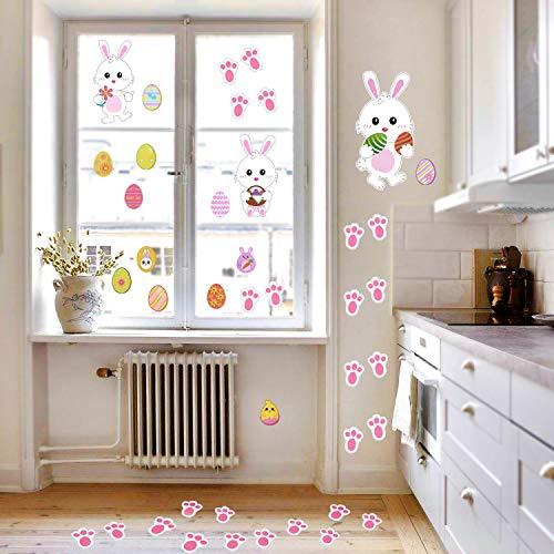 Howaf 39 pezzi decorazioni di pasqua uova conigli piedi adesivi murali decorazioni parete finestra pasqua decorazioni casa per bambini festa gioco di caccia alle uova di pasqua