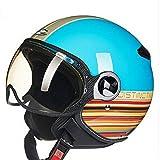 Mdsfe Schöner Smiley Motorradhelm schwarz gelb Motocross Motorradhelm blau DD51 L