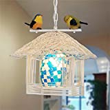 NAUY Pastorale Lampadario nido dell'uccello Tatuaggio Piccola Casa Lampadario balcone Cafe singolo testa uccello Chandelier