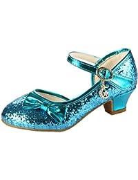 Amur Leopard Zapatos Princesa de Niña Brillante con Lazo Lentejuela Mercedita Lujo y Elegante