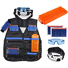 Nerf War Tactical Rifle Stock Dart Equipment Set pour Nerf N-strike Elite  Series Blasters Toy Gun (2 Wrister + 1 Veste Tactique Veste + 1 Lunettes ... 28250812c3c5