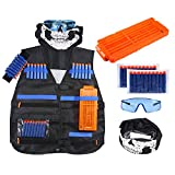 niceEshop(TM) Tactical Vest Kit for Nerf Guns N-Strike Elite Series with 20pcs Refill Darts, Reload Clips, Hand Wristband, Protective Glasses, Face Tube Mask for Kids Toy Guns Games