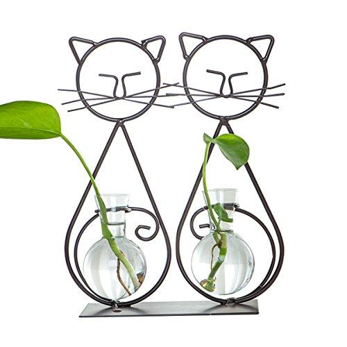 Desktop Glas Pflanzer Vasen mit hängenden Metall Blumen ständer Töpfe (zwei Katzen) -