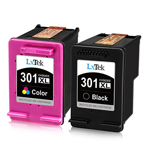 LxTek Remanufactured für HP 301 301XL Druckerpatronen für HP DeskJet 1000 1010 1050 2050 2050A 2510 2540 3000 3010 3050 3050A 3510 Envy 4500 4502 5530 OfficeJet 2620 4630 4632 (1 Schwarz, 1 Farbe)