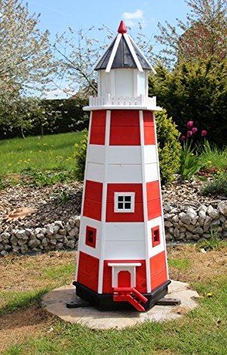 1,40m XXL Leuchtturm rot/weiß Typ 2 mit Solarbeleuchtung