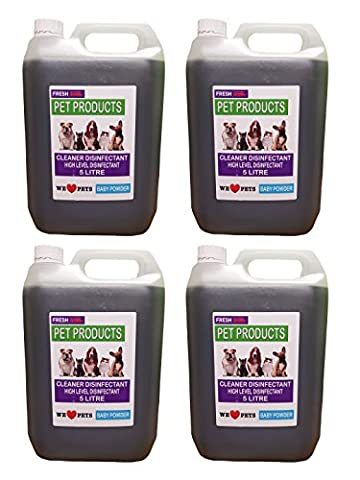 4 x 5 LITRES - *BABY POWDER FRAGRANCE* PET / KENNEL DISINFECTANT & DEODORISER
