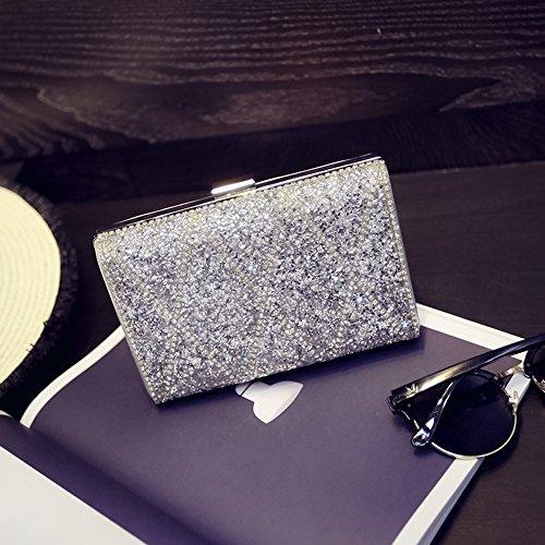 Borsetta europea di moda europea e americana, semplice banchetto di personalità, pacchetto di cibi da diamante, borsa a mano diamante, zaino obliquo, borse ( Colore : Silver ) Silver