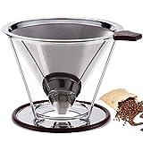 werded–Filtro de café reutilizable de acero inoxidable doble malla fina para más de café dripper- cono cafetera goteo paperless-coffee eléctrica con