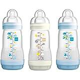 MAM Self Sterilising Anti-Colic Bottle 260 ml (3 Pack Blue/ White)