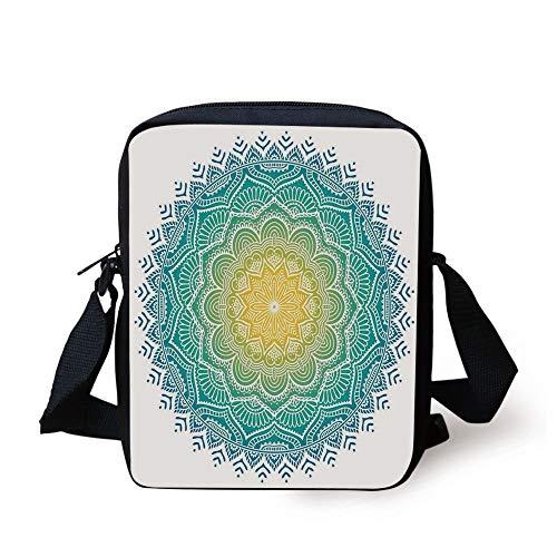 ZKHTO Mandala,Aquatic Color Mandala Pattern with Sun in Center Indian Art Meditation Zen,Yellow Green Blue Print Kids Crossbody Messenger Bag Purse (Kids Zen Color)