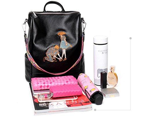Frauen Echtes Leder Rucksack Neue Mode Stickerei Daypack Doppel Umhängetasche Lässig Reisetasche Schultasche Handtaschen Black